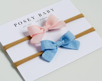 Linen Baby Headbands & Bows | Mini Newborn Bow Set | Pink and Surfside Blue