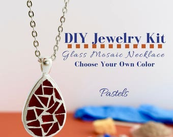 Complete Jewelry Making Kit, Glass Mosaic Necklace Activity, Teardrop Silver Pendant, Choose Your Own Pastel Colors, DIY Jewelry Kit