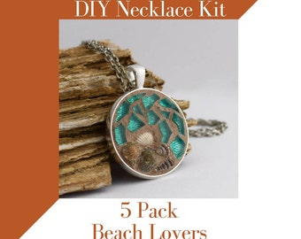 Jewelry Making Kit, Beach Lovers, Glass Mosaic Jewelry Activities, 5 Pack Craft Kit, Jewelry Mosaic Making Necklace Kit, Birthday Party Fun