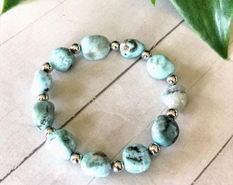 Authentic Aqua Blue Larimar Bracelet, Gemstone Bracelet, Natural Rock Bracelet, Stacking Bracelet, Larimar Geode Bracelet, Stretch Bracelet