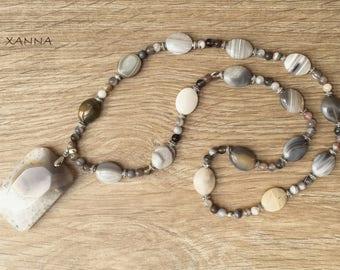 PEARLY necklace semi-precious /piedras / botswana/pendant agate agate botswana/Boho chic-casual-elegant