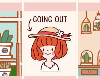 Cute Girl Stickers, Kawaii Parisian girl stickers, Kawaii girl stickers, Kawaii girl stickers (LOLA041)
