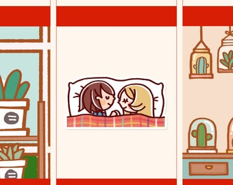 Cute Couple Stickers, Sleeping planner stickers, Cute Planner Sticker, girl stickers, Kawaii Dating stickers, Romantic stickers (HF009)