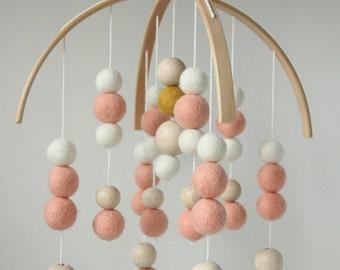 Felt ball mobile Peach & Ocre  • Handmade nursery mobile