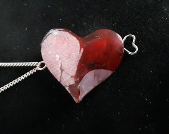 "SweetHeart Shimmer Pink and Red Resin Heart Pendant necklace on 19"" silver chain for love, friendship, or for you!"