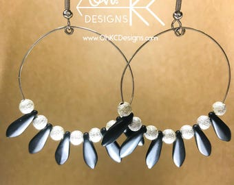 Black and silver daggar beaded hoop earrings
