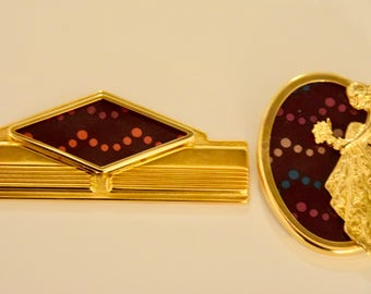 Set of 2 Vintage Brooch Matching Pins Gold and Purple, Polka Dots Women, Men,  Ladies Evening Wear Gift, Husband & Wife Anniversary Gift
