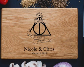 Harry Potter ALWAYS, Personalized Cutting Board ,monogram cutting board, Family Sign, Established sign,Custom cutting boards - Wedding Gift