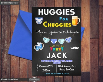 Beer and diaper Dad baby shower invitation - Huggies and Chuggies