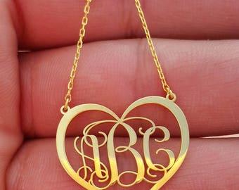 Personalized Monogram Necklace, Gold Monogram Necklace, Monogram Necklace, Gold Heart Necklace, Personalized Necklace, Monogram Jewelry,
