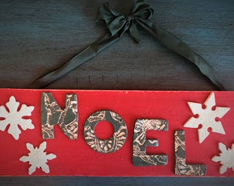Ceramic NOEL Sign with Snowflakes