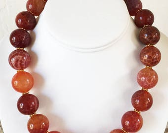 Fire Agate AAA 20mm Necklace with 24K Gold Vermeil Hook and Eye Clasp