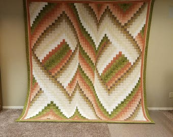Sage and Rose Bargello Quilt King Sized