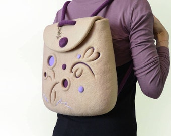 Beige Felt Backpack Handmade, Hand Felted Purple Eco Backpack with Wool Dragonfly