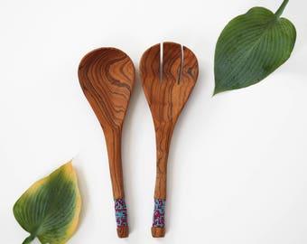 Wild Olive Wood Salad Spoon / African Decor / Ugandan Kitchenware / Uganda Salad Spoon / Wooden Salad Spoon