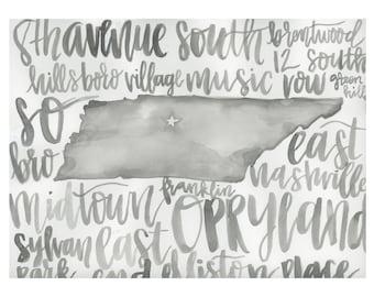 Nashville Watercolor Calligraphy Print