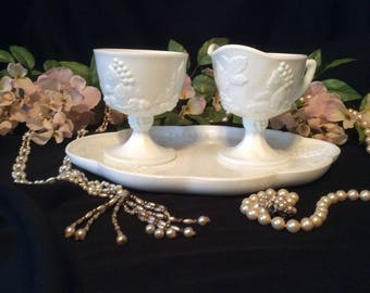 Indiana White Milk Glass, Grape Vine Pattern, Cream and Sugar Set, and Tea Plate