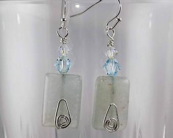 Light blue aventurine, Swarovski crystals, pale blue, silver,