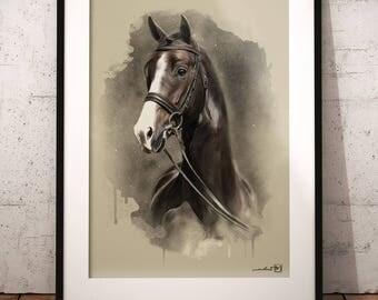 Horse, animal, wildlife, artwork, handmade, PRINTABLE art, poster, instant download, digital print, interior, home decor, wall art, download