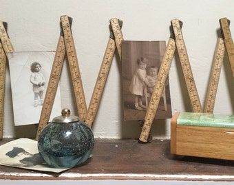 Hultafors folding ruler Made in Sweden 2 metres 10 sections Imperial and metric measure Rustic decor Vintage display Collectibles