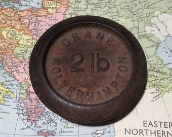 Crane Wolverhampton 21b cast iron scale weight Made in England Vintage paperweight Rustic decor