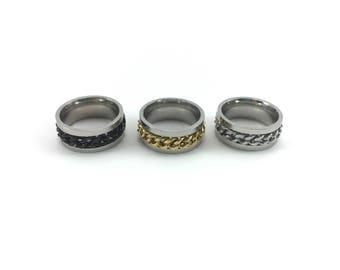 Chain Spinner Ring / Rotation Fidget Ring / Stainless Steel Turning Ring / Silver Black Gold Spinning Stim Ring