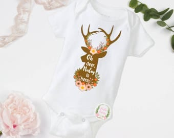 Oh deer, Hailey is here, ANY NAME, baby bodysuit, toddler shirt, oh deer, name bodysuit, newborn bodysuit, newborn outfit, newborn clothes