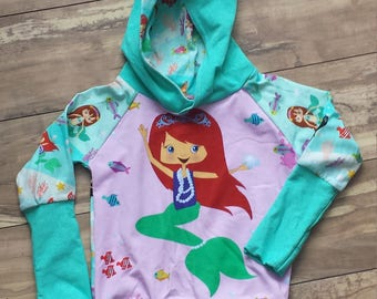 Handmade children's sweater, Hooded sweater for kids, Mermaids Panel, stretchy sweater, Raglan style sweater with hood, cotton lycra
