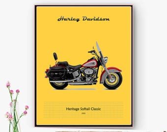 Poster, poster, Harley Davidson motorcycle film. Wall decor, living room, office, space. Digital Art downloadable. Christmas, Online poster.