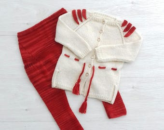 Knitted kids elf costume, Christmas kids costume, Merino wool elf cardigan, Orange kids joggers, White girls sweater, Harem pants, Size 3T