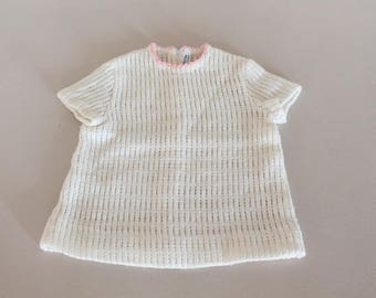 Baby white dress, baby spring summer, baby vintage clothe, birth gift, made in france clothe