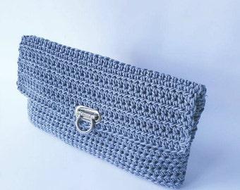 Handmade crochet clutch with waxy cotton yarn