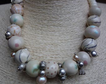 African Kazuri ceramic beads with bone beads, silver beads and pearls
