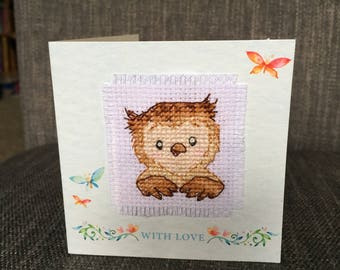 Cross Stitch Owl Greeting Card