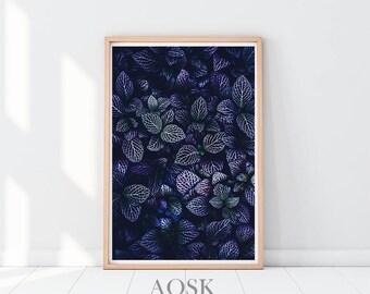 Succulent Print, Cactus Print, Cactus Printables, Navy Blue Succulent Leaves, Cactus Poster, Tropical Leaf Print, Plant Print, Home Decor