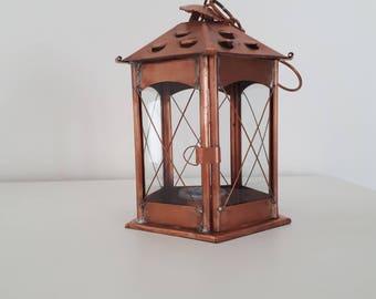 Hexagonal Copper Lantern. Copper Candle Holder. Rustic. Indoor lantern. Home Decor. Rustic wedding. Vintage outdoor lantern.  626 medium