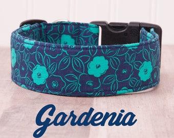"Navy and Turuoise Green Floral Dog Collar ""Gardenia"""