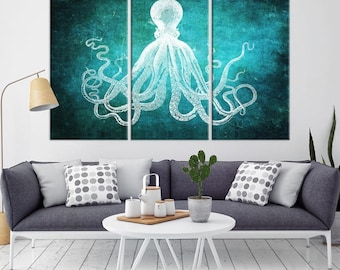 Octopus Wall Art, Octopus Canvas Print, Octopus Poster Print, Wall Art Octopus, Octopus Wall Decor, Octopus Canvas Print, Large Octopus Art