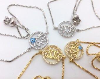 Flower lotus bracelet adjustable / FREE USA SHIPPING