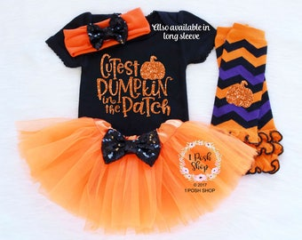Baby Halloween Costumes Girl, Cutest Pumpkin In The Patch, Baby Halloween Outfit, Baby First Halloween Outfit, Baby Halloween Clothes HH1