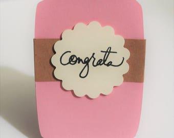 Gift Card Holder Congrats Pink and Beige Mason Jar