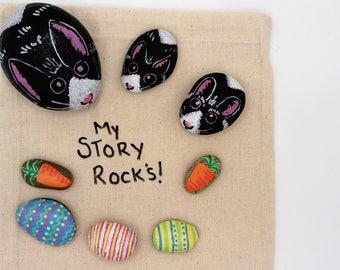 large bunny family story stones