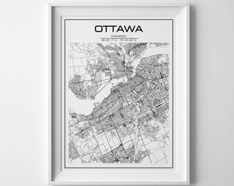 Ottawa map rpint, Minimalist Ottawa Art Print, Ottawa City Map, Ottawa poster, Ontario, Map of Ontario, Canada print, Canadian art, City art