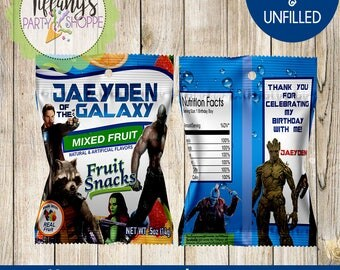 Guardian of the Galaxy Fruit Snacks Wrapper, Guardian of the Galaxy Fruit Snacks, Guardian of the Galaxy Favors-Guardian of the Galaxy Bags
