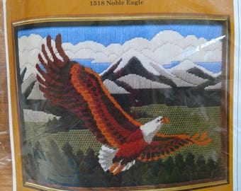 Soaring Noble Eagle Bald Eagle Longstitch Needlepoint Kit from The Creative Circle #1518 1985 Vintage Long Stitch Embroidery Kit