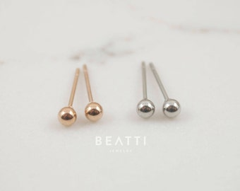 NEW! Tiny 2mm/3mm Ball Earrings, Surgical Steel Earring, Tiny Stud, hypoallergenic earrings, tiny stud earring, minimal earring