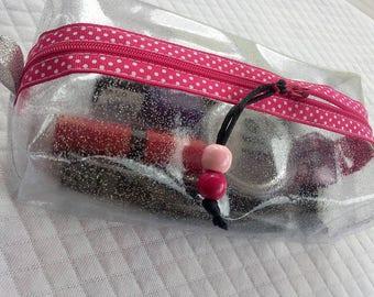 Trousse transparente en cristal pailleté