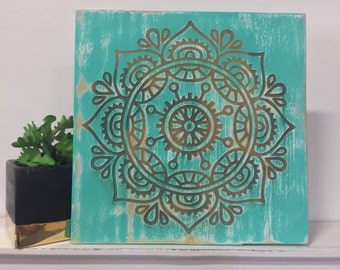 Turquoise Mandala Engraved Wood Sign   Shabby Chic Wall Decor   Rustic Sign