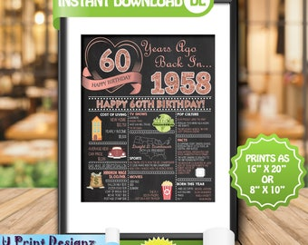 60th Birthday Chalkboard, 1958 ROSE GOLD Birthday Poster Sign, 60th Adult Birthday Gift Poster- Personalized Year Digital Printable File