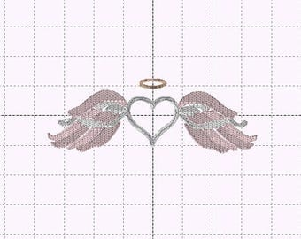 Angel Wings and Heart Fill Stitch - INSTANT DOWNLOAD - Embroidery Design - Sizes 4x4, 5x7, 6x10